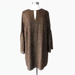 Michael Kors Metallic Leaf Print Shift Dress 10